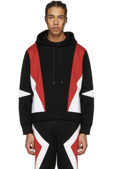 Neil Barrett - Black Panelled Modernist Retro Hoodie