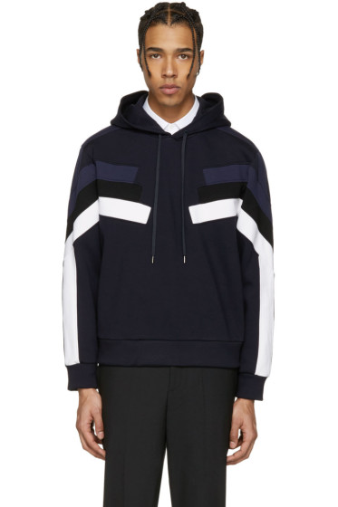 Neil Barrett - Navy Panelled Modernist Retro Hoodie