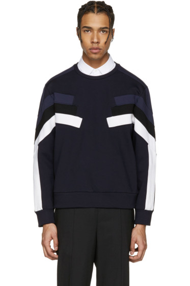 Neil Barrett - Navy Panelled Modernist Retro Pullover