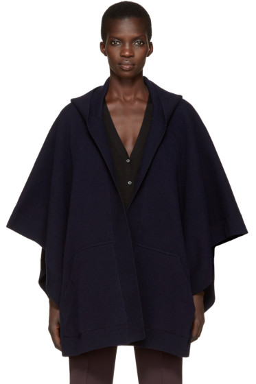 Burberry - Navy Hooded Carla Poncho