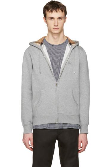 Burberry - Grey Clarendon Zip-Up Hoodie