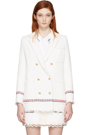 Thom Browne - White Selvedge Tweed Blazer