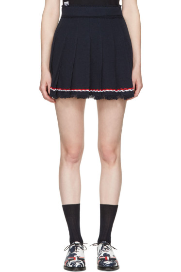 Thom Browne - Navy Selvedge Tweed Pleated Miniskirt