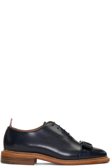 Thom Browne - Navy Wholecut Bow Oxfords