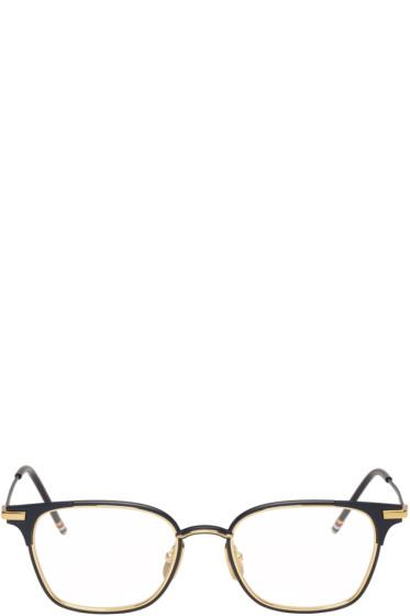 Thom Browne - Navy & Gold TB-107 Glasses