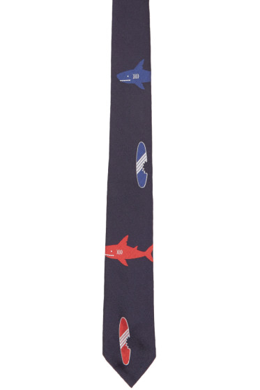 Thom Browne - Navy Shark & Surfboard Classic Tie