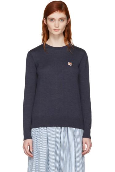Maison Kitsuné - Navy Fox Head Patch Sweater