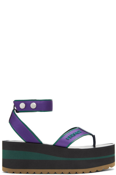 Versace - Purple & Green Flatform Sport Sandals