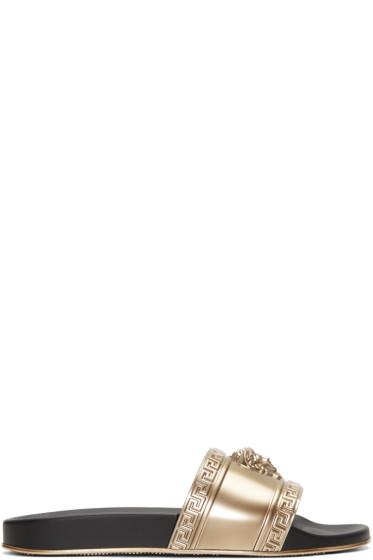 Versace - Gold Medusa Slide Sandals