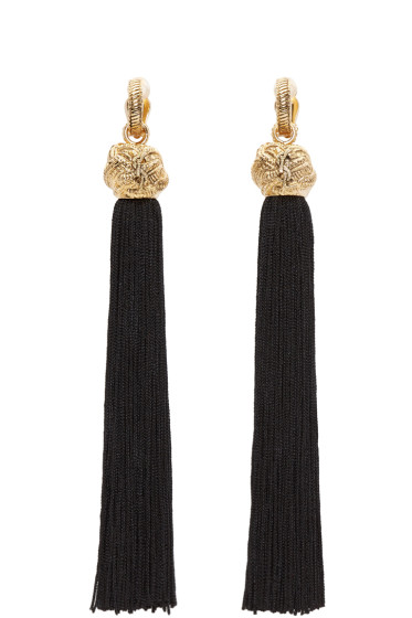 Saint Laurent - Black & Gold Loulou Tassel Earrings