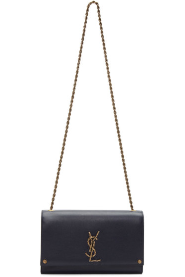 Saint Laurent - Navy Medium Monogram Kate Chain Bag