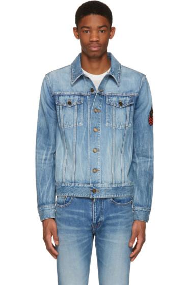Saint Laurent - Blue Denim Military Patch Jacket