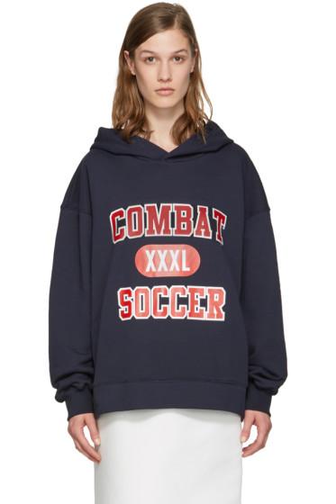 MSGM - Navy 'Combat Soccer XXXL' Hoodie