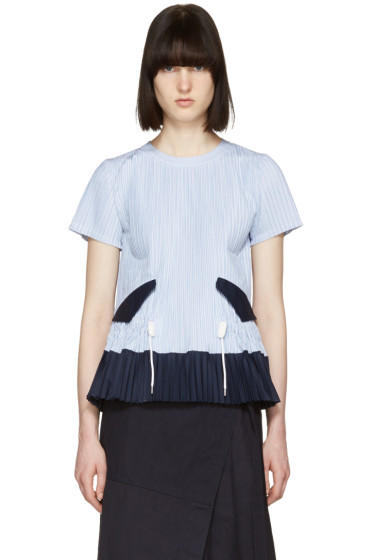 Sacai - Blue Striped Pleated Shirting Blouse