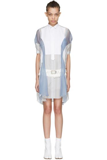 Sacai - Off-White Striped Shirt Dress