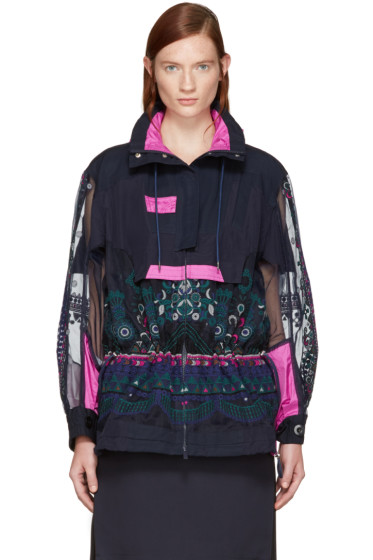 Sacai - Navy Tribal Lace Jacket