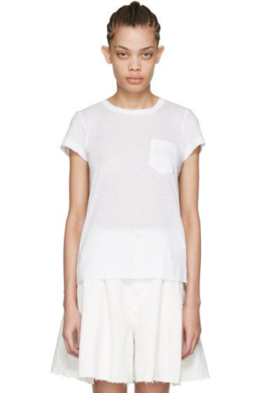 Sacai - White Striped Panels T-Shirt