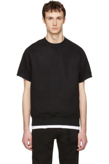 Sacai - Black Sweats Short Sleeve Pullover