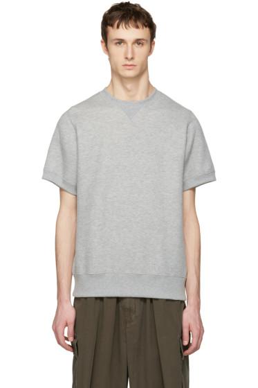 Sacai - Grey Sweats Short Sleeve Pullover