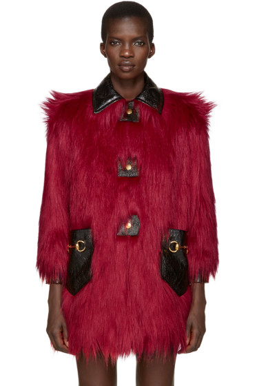 Gucci - Red Faux-Fur & Leather Shag Coat