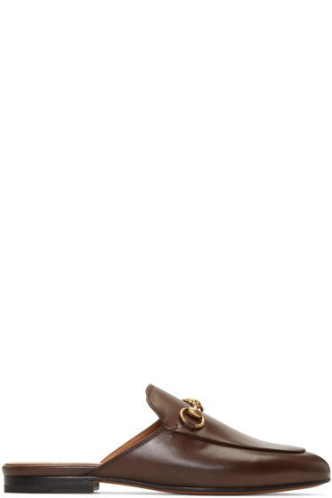Gucci - Brown Leather Princetown Loafers