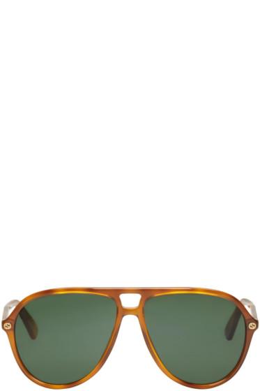 Gucci - Tortoiseshell Urban Pilot Sunglasses