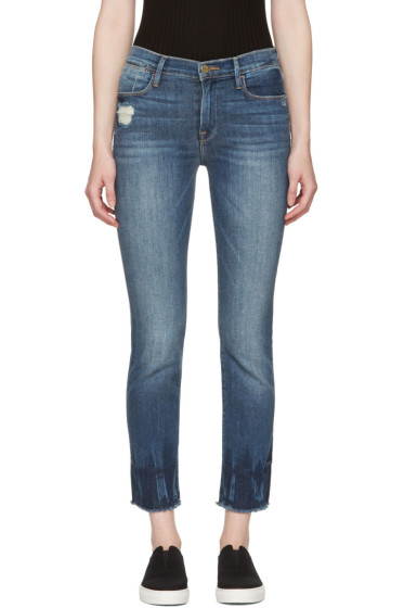 Frame Denim - Blue 'Le High Straight' Raw Edge Fade Jeans