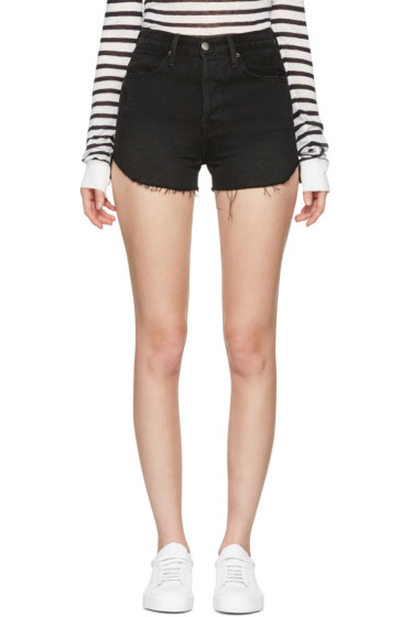 Frame Denim - Black Denim Le Original Tulip Shorts
