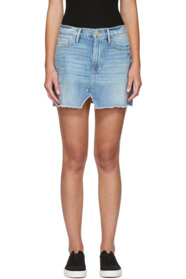 Frame Denim - Blue Denim Le Mini Split Front Skirt
