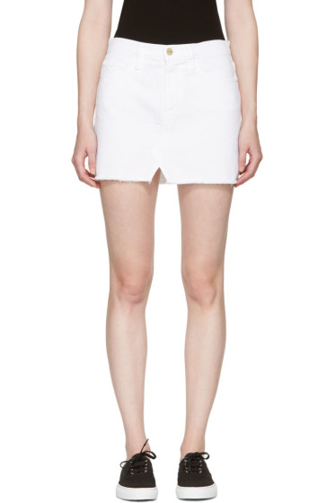 Frame Denim - White Denim 'Le Mini Split Front' Miniskirt