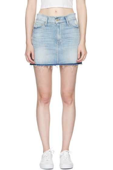 Frame Denim - Blue Denim 'Le Mini Frayed Waist' Miniskirt