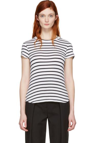 Frame Denim - White Striped Classic Crew T-Shirt