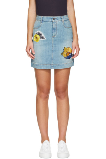 Stella McCartney - Blue Denim Surf Patch Miniskirt