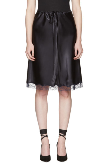 Nina Ricci - Black Lace Satin Slip Skirt
