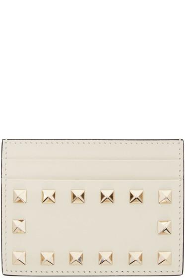 Valentino - Ivory Rockstud Card Holder