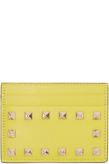 Valentino - Yellow Rockstud Card Holder