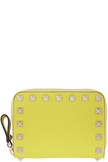 Valentino - Yellow Small Rockstud Zip Wallet