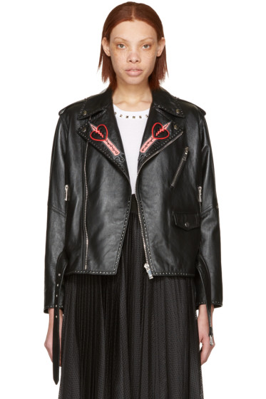 Valentino - Black Leather Love Blade Motorcycle Jacket