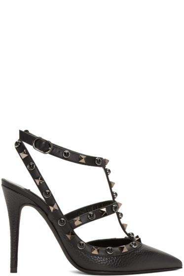 Valentino - Black Rockstud Rolling Heels
