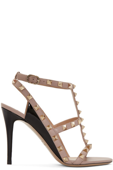 Valentino - Black Rockstud Cage Sandals