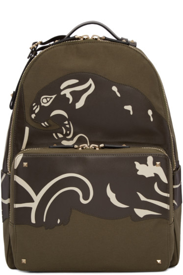 Valentino - Green Canvas & Leather Panther Backpack