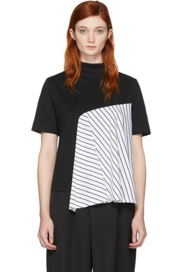 Facetasm - SSENSE Exclusive Black Striped Panel T-Shirt