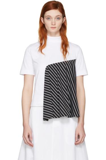 Facetasm - SSENSE Exclusive White Striped Panel T-Shirt