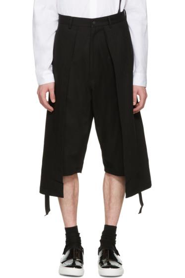 D.Gnak by Kang.D - Black Twill Long Layered Shorts