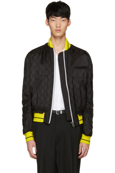 Haider Ackermann - Black Jacquard Check Bomber Jacket