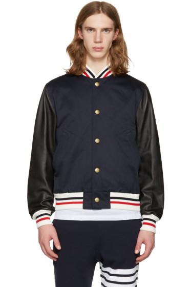 Moncler Gamme Bleu - Navy Leather Sleeve Bomber Jacket