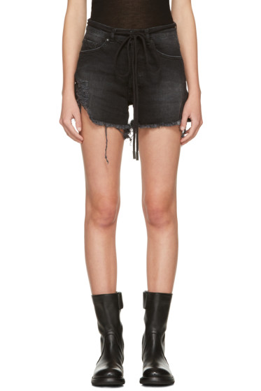 Off-White - Black Denim Super Ripped Shorts
