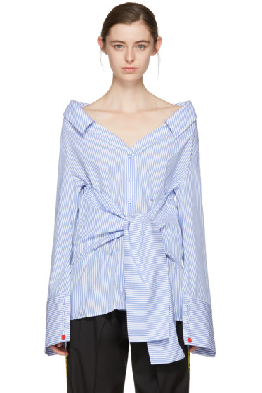 Off-White - Blue Striped Long Sleeve Off-The-Shoulder Shirt