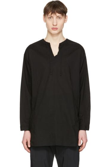 Undecorated Man - Black Drawstring Collar Shirt