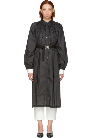Lemaire - Black Pleated Nylon Overcoat
